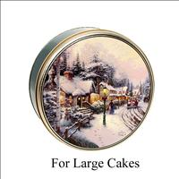 Village Christmas Tin for LARGE Cakes